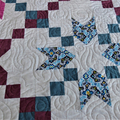 Colourful patchwork queen bed quilt, white, plum, blue modern quilt