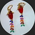 Topaz and enamel drop earrings