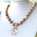 Beautiful Genuine JASPER Faceted Gemstones Necklace with a Crystal Pendant.