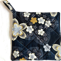 Handmade quilted pot holders, set of 2, modern dark blue and grey floral