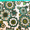 Large Patchwork place mats, set of four, modern floral  turquoise and white