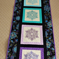 Patchwork quilted Queen bed runner,  machine embroidered turquoise, purple blue