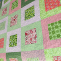 Patchwork quilt, lap quilt, in pink and green, couch throw, baby quilt