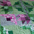 Patchwork, quilted log cabin variation couch throw/table topper plum, green,