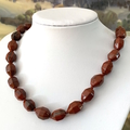 Genuine Red JASPER Faceted Gemstones Knotted Necklace.