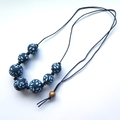 Navy rose polymer clay statement necklace