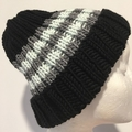 Black striped merino beanie, grey beanie, mint ladies beanie,