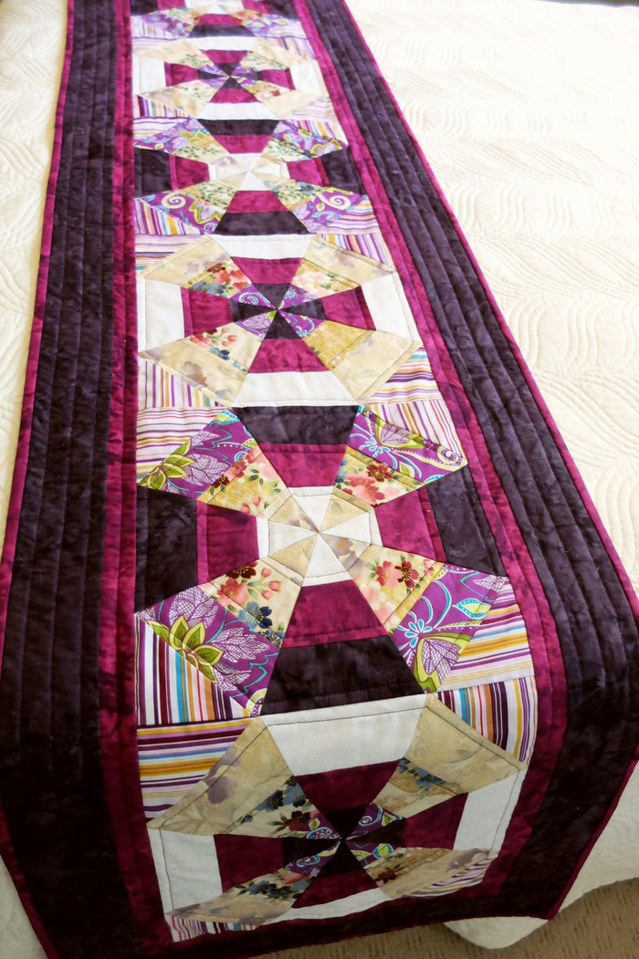 Patchwork Quilted Queen Bed Runner Purple Plum And Grape Shades Kaleidescope Stephs Quilts On Madeit