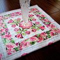 Baltimore Applique and Embroidered Patchwork  Candle Mat, Table Topper,  floral