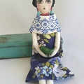 Frida Soft Doll , pompom flowers