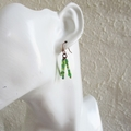 Chic Green seed bead tassel earrings ( Boho Hippie Gypsy Woodland Retro Cute )