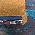 Mustard Zipper Pouch Purse, Zip Clutch, Leather Trim, Fully Lined, Inner Pocket,