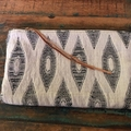 Boho Pouch, Zip Clutch, Leather Trim, Fully Lined with Navy Linen, Inner Pocket,