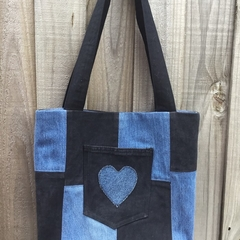 Upcycled Denim Tote Bag - Black & Blue