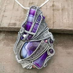 Multi Stone Agate Heady Pendant , wire wrapping , unique , no tutorial , Gems