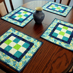 Patchwork place mats, set of four, green, blue, white, modern quilted table deco