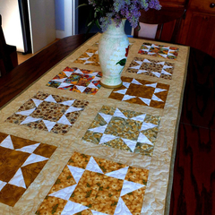 Large patchwork quilted table or single/twin bed runner in Autumn colours, star