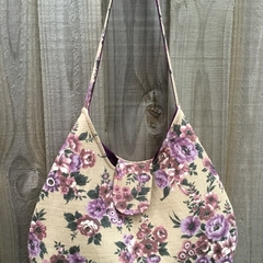 Phoebe Bag - Tan Bark Cloth with Purple flowers