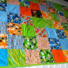 Colourful lap quilt or baby or child's quilt, play mat, nursery decor, unisex