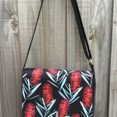 Upcycled Denim Satchel – Bottle Brush Print