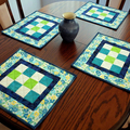 Patchwork quilted placemats, set of 4, green, blue, white, modern table decor