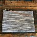 Pouch Zipper, Textured White/Charcoal Contrast Zipper Purse, Zip Clutch, Leather