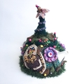 Unique 4-6 cup embellished crochet tea cosy with owl theme.