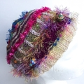Embellished knit hat for 15 years to adult. Multi colours with beads and texture