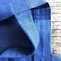 100% Navy Linen Tote Bag, Indigo, Shopping Bag, Leather Trim, Casual Bag, Weeken