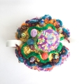 Unique brightly coloured 4-6 cup crocheted tea cosy with many colourful beads.