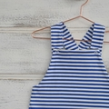 boys harem romper, striped blue rompers, stretch clothes