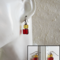 Wire wrapped Glass cube earrings ( Beige & Red , Chic Antique Elegant Retro )