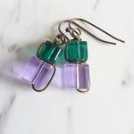 Wire wrapped Glass cube earrings (Purple Green , Modern Chic Art deco Cute )