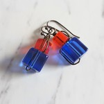 Wire wrapped Glass cube earrings ( Red & Blue , Chic Modern Art deco Artsy Cool)