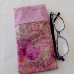 Fabric dusty pink batik eyeglass case, mobile phone case, reading or sunglass ho