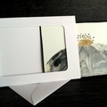 Encaustic painted greeting card set with beeswax candle, black and white marble