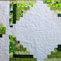 Green, white table runner, patchwork quilted log cabin  modern table runner