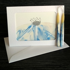 Birthday gift set, hand painted beeswax candle with matching art card, blue whit