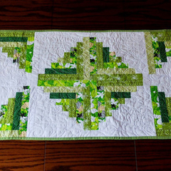 Green, white table runner, patchwork quilted log cabin  modern table runner