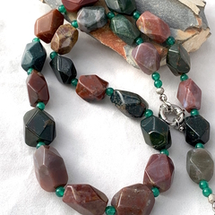 Genuine AGATE & JASPER Gemstones Green, Brown Outback-Inspired Necklace.