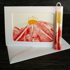 Love card gift, hand made wedding card set with pair of taper candles, red white