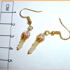 Petite opal and crystal earrings