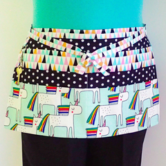 Preschool teacher utility vendor daycare lined half apron - 6 pockets - Unicorns