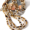 Genuine Earthy AGATE  4mm Beads Three Strands Necklace.