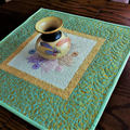 Patchwork, quilted,  table topper, mandala embroidery, green and gold