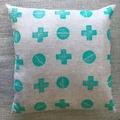 Handprinted linen cushion cover