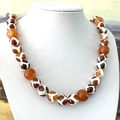 Exquisite White-Brown Orange Agate Faceted Stones Outback Inspired Necklace.