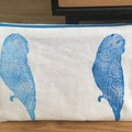 Hand printed cotton linen pouch