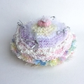 Unique embellished knit hat for newborn baby. Pastels. Textural. One of a kind.
