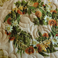 Christmas quilted tablerunner, traditional green and gold Christmas table decor